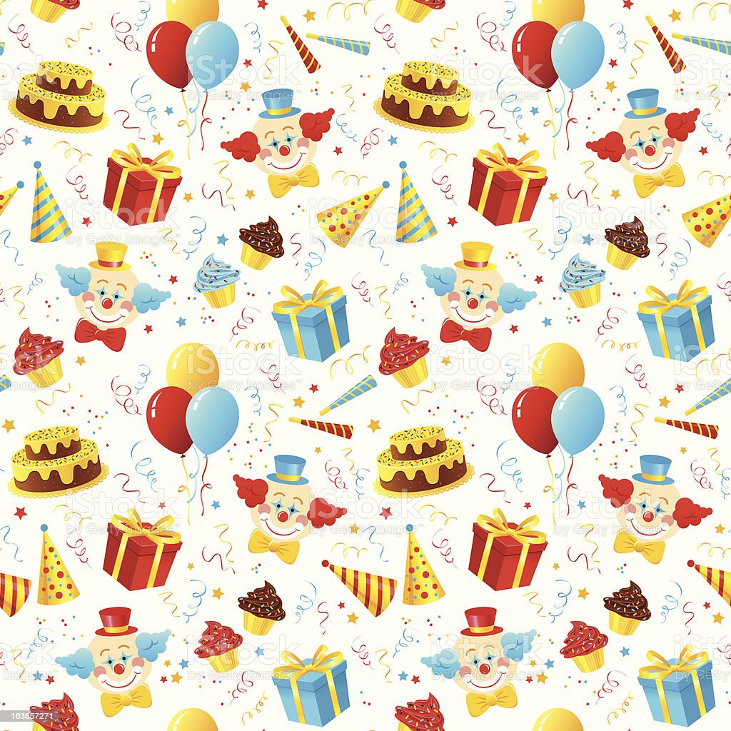 Birthday Party Seamless Pattern vector art illustration