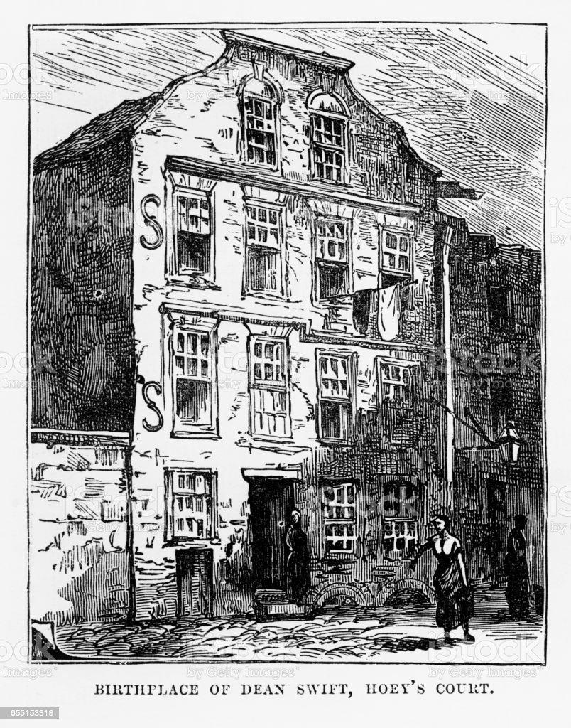Birthplace of Dean Swift in Dublin, Ireland Victorian Engraving, 1840 vector art illustration