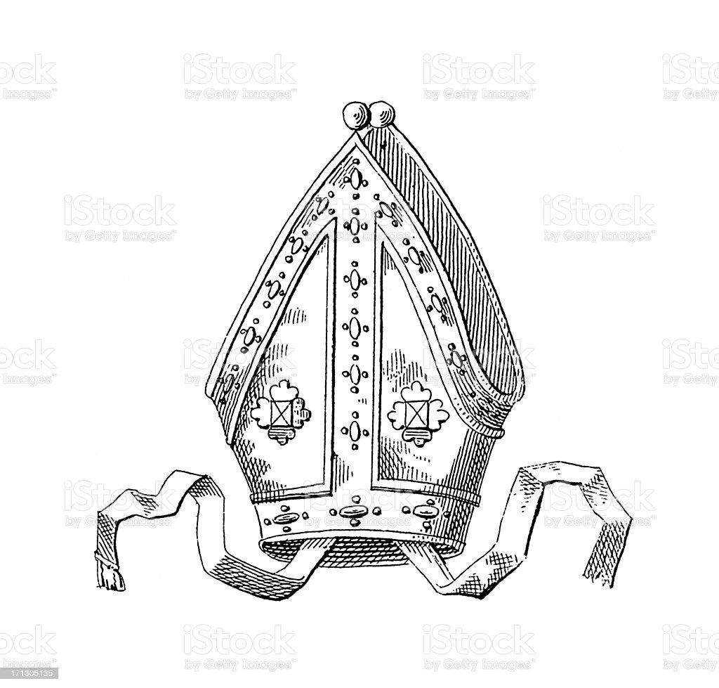 Bishop Crown   Historic Symbols of Monarchy and Rank vector art illustration