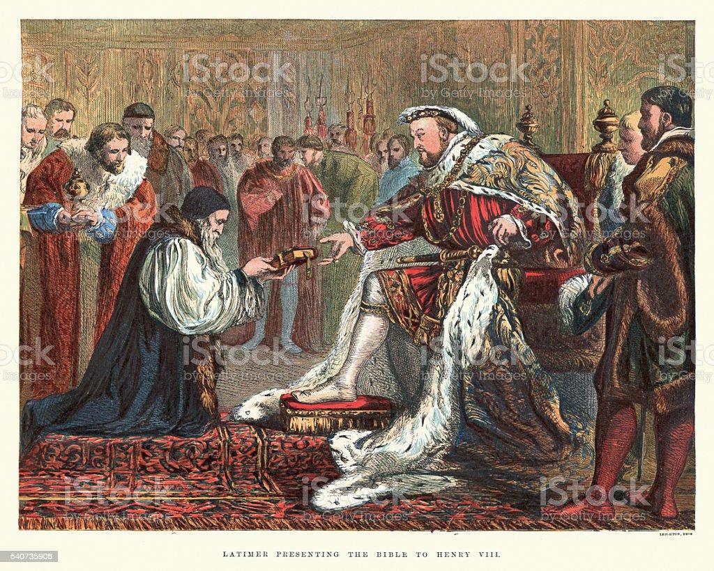 Bishop Latimer presenting the Bible to Henry VIII vector art illustration