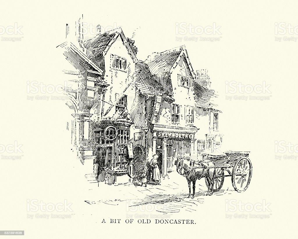Bit of Old Doncaster, 19th Century vector art illustration
