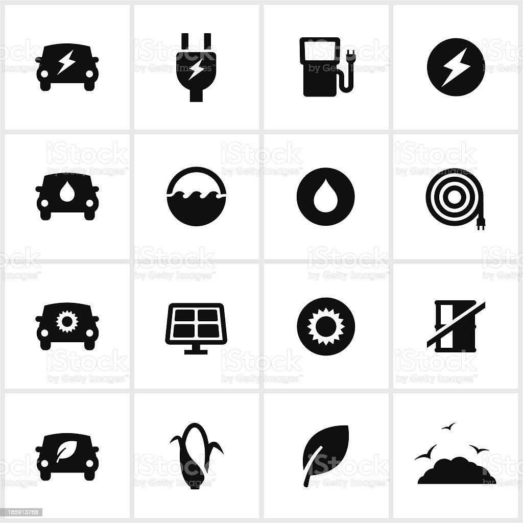 Black Alternative Fuel Icons vector art illustration