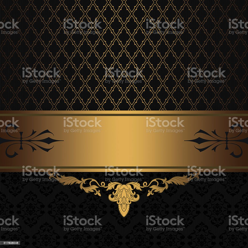 Black and gold vintage background. stock photo