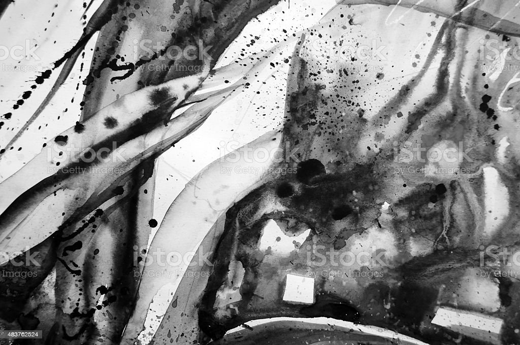 Black and white abstract watercolor texture vector art illustration
