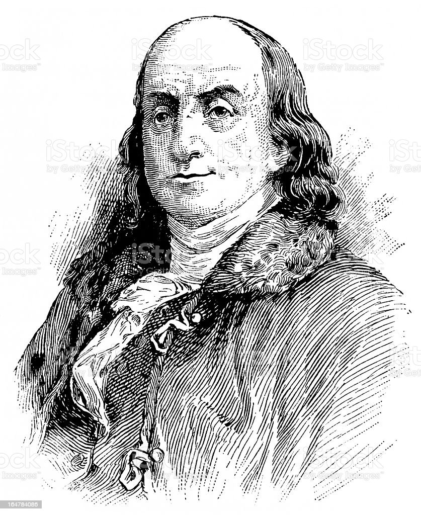 Black and white antique graving of Benjamin Franklin royalty-free stock vector art