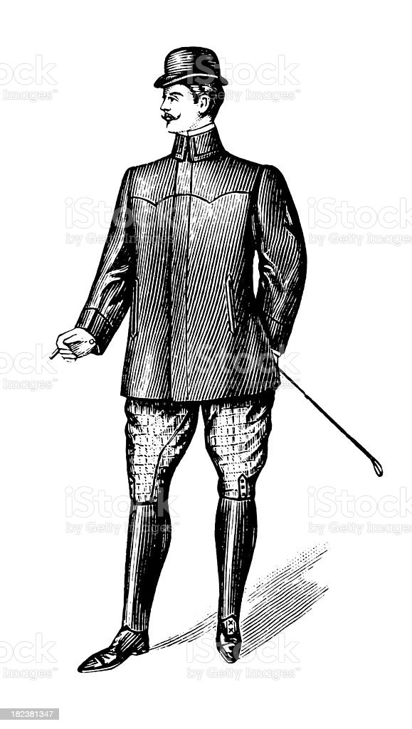 Black and white antique illustration of gentleman standing royalty-free stock vector art