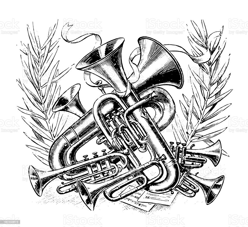 Black and white antique wind instrument drawing royalty-free stock vector art