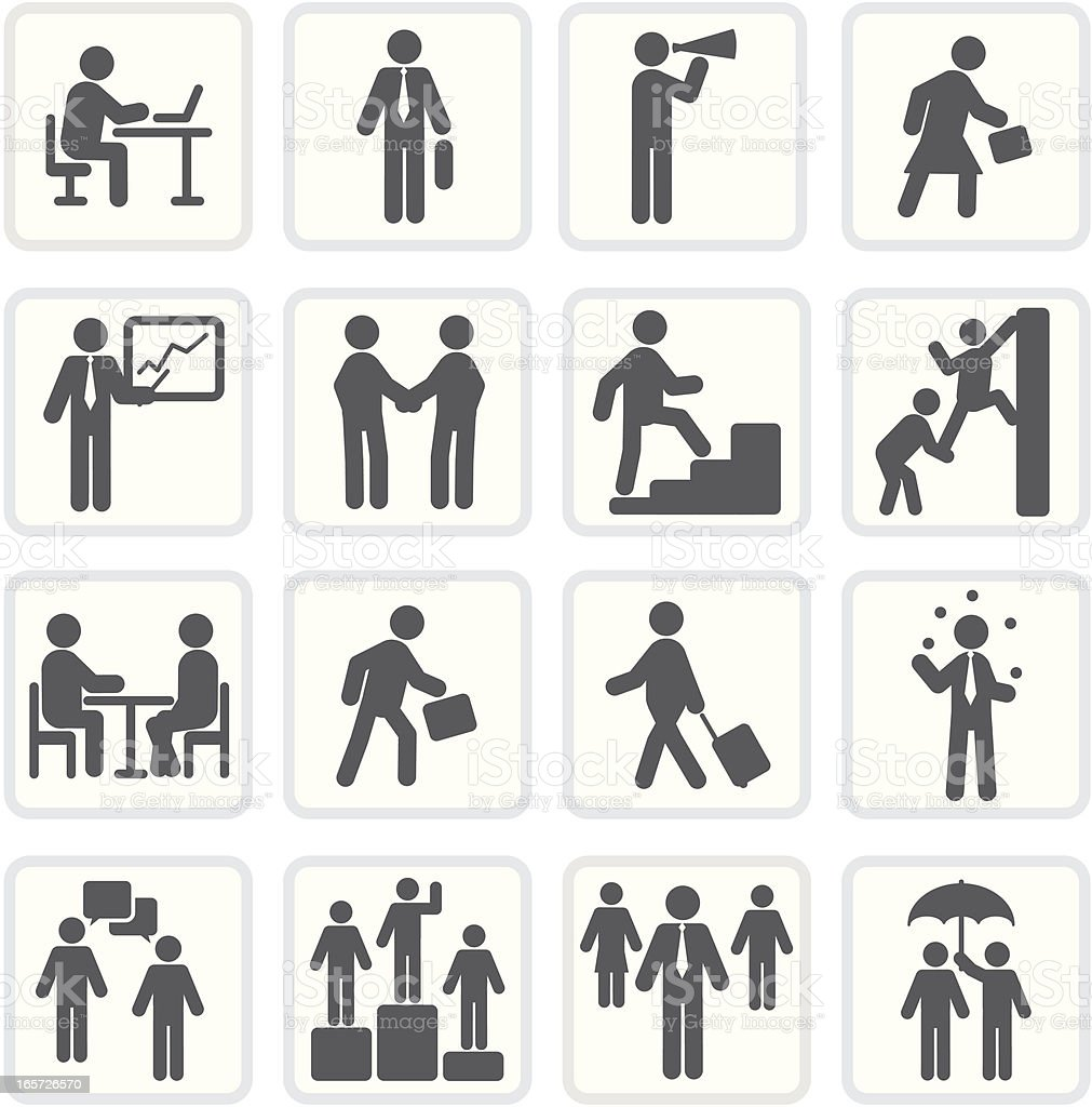 Black and white business and marketing icon series vector art illustration