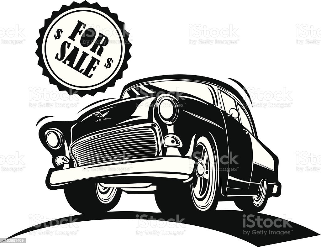 Black And White Classic Car For Sale Stock Vector Art