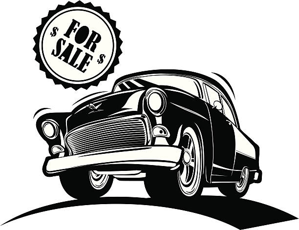 Black And White Classic Car For Sale Clip Art Vector Images