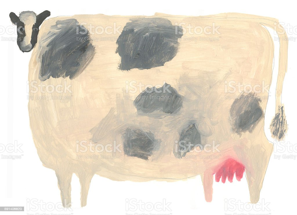 Black and white cow painted illustration vector art illustration