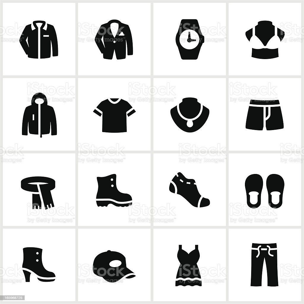 Black and white department store clothing icons vector art illustration