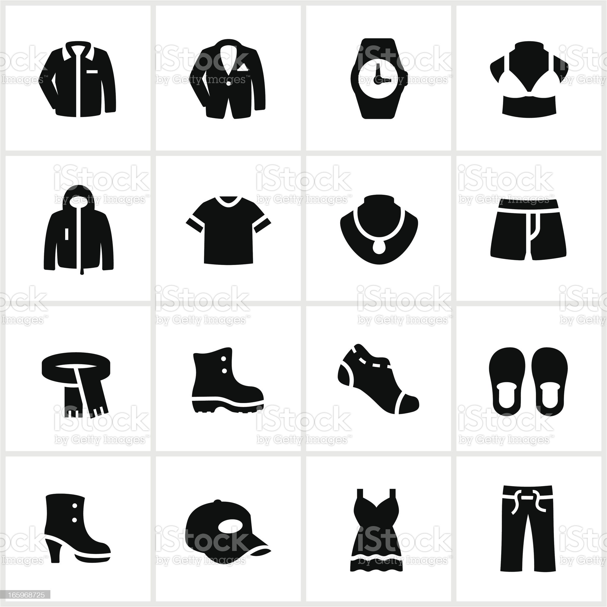 Black and white department store clothing icons royalty-free stock vector art