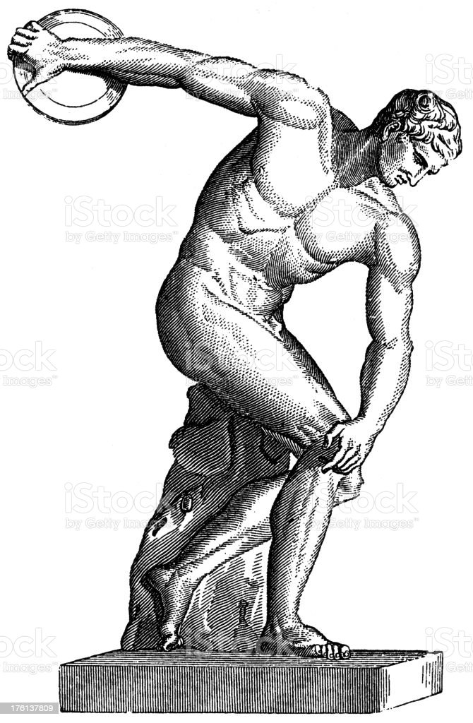 Black and white Discobolus graphic vector art illustration