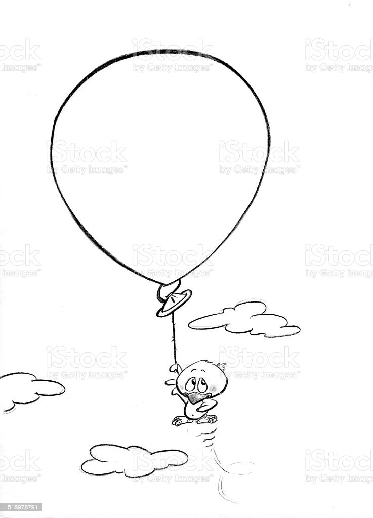 Black and white drawing of chick hanging down a balloon royalty-free stock vector art