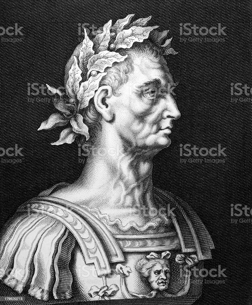 Black and white drawing of Julius Caesar vector art illustration
