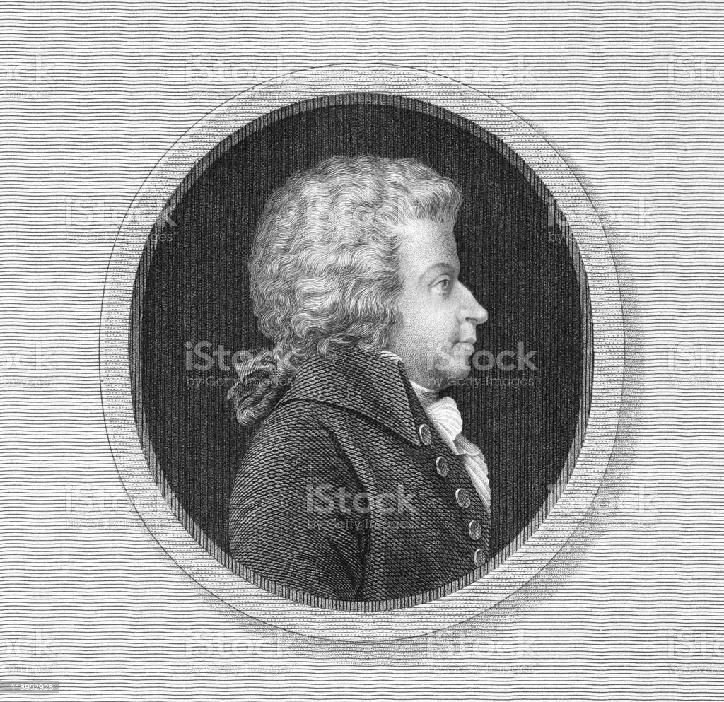 Black and white engraved profile portrait of Mozart vector art illustration