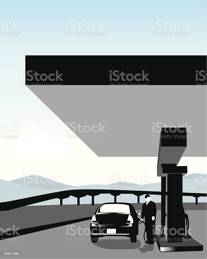 Black and white gas station royalty-free stock vector art
