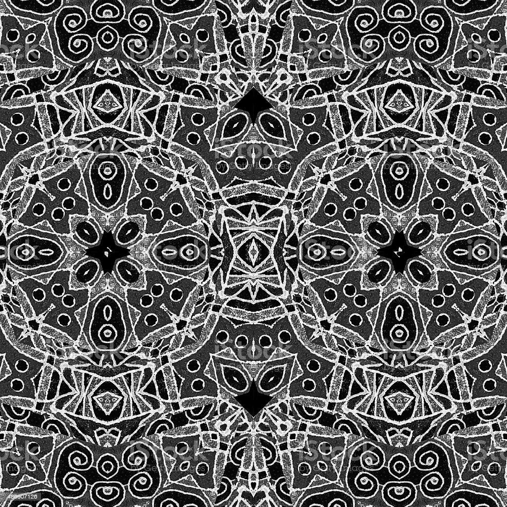 Black and White Geometric Tribal Pattern vector art illustration