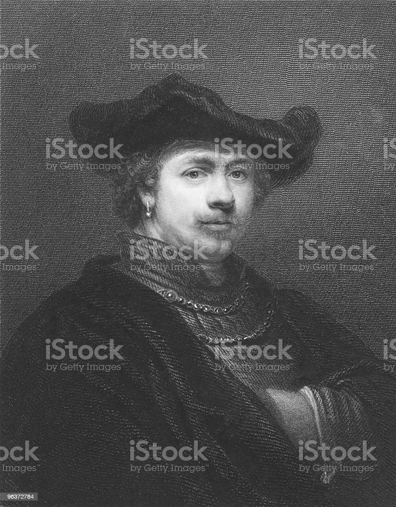 Black and white illustrated portrait of a Rembrandt royalty-free stock vector art