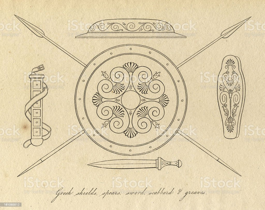 Black and White Illustration of Ancient Greek Weapons royalty-free stock vector art