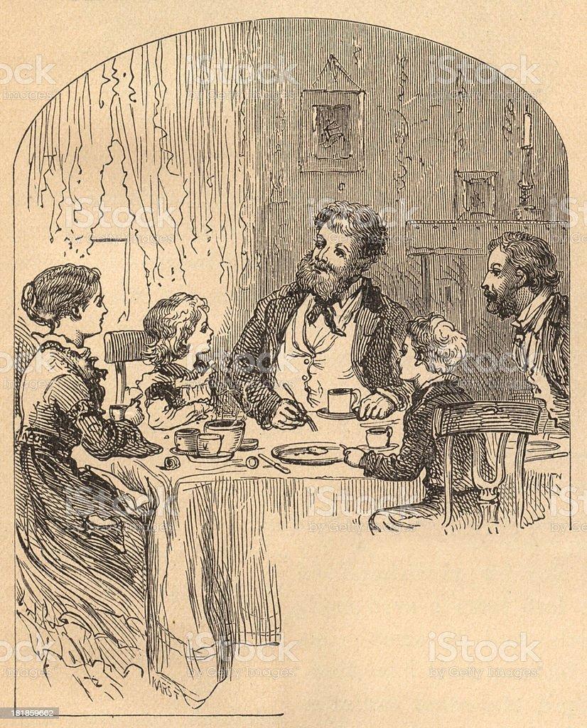 Black and White Illustration of Family Eating Dinner, From 1875 royalty-free stock vector art