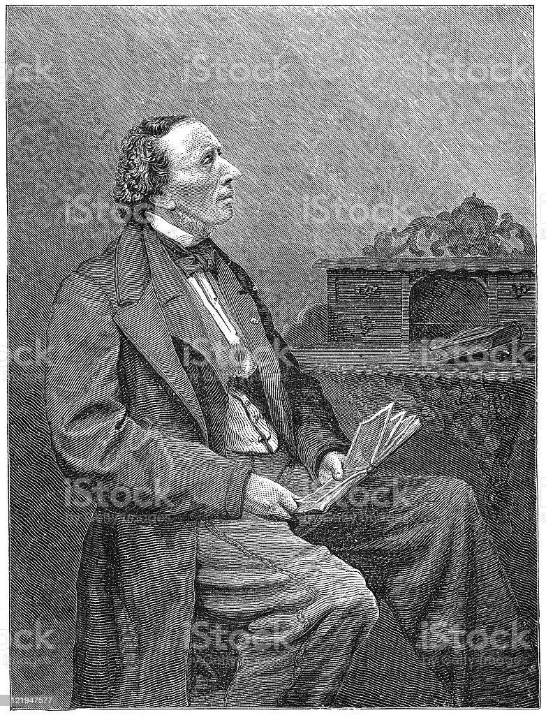 Black and white illustration of Hans Christian Andersen vector art illustration