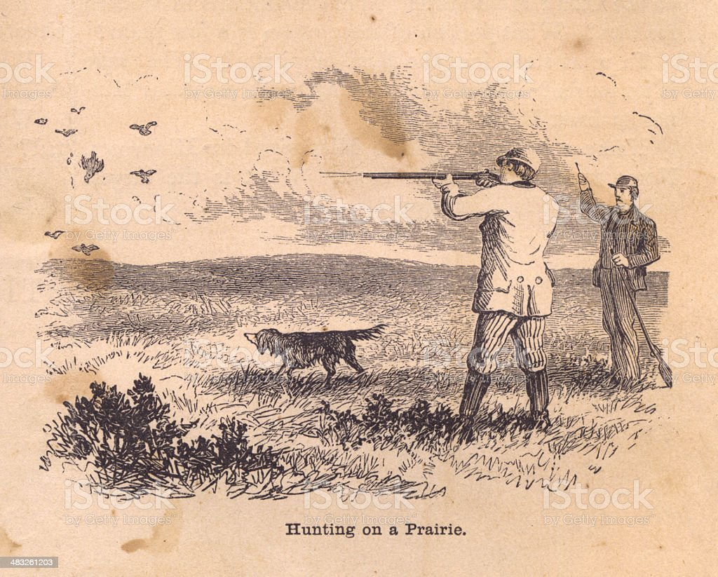 Black and White Illustration of Hunting on Prairie, From 1800s vector art illustration