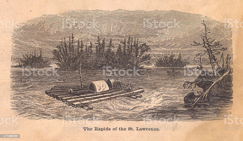 Black and White Illustration, Rapids of St. Lawrence, 1800's royalty-free stock vector art