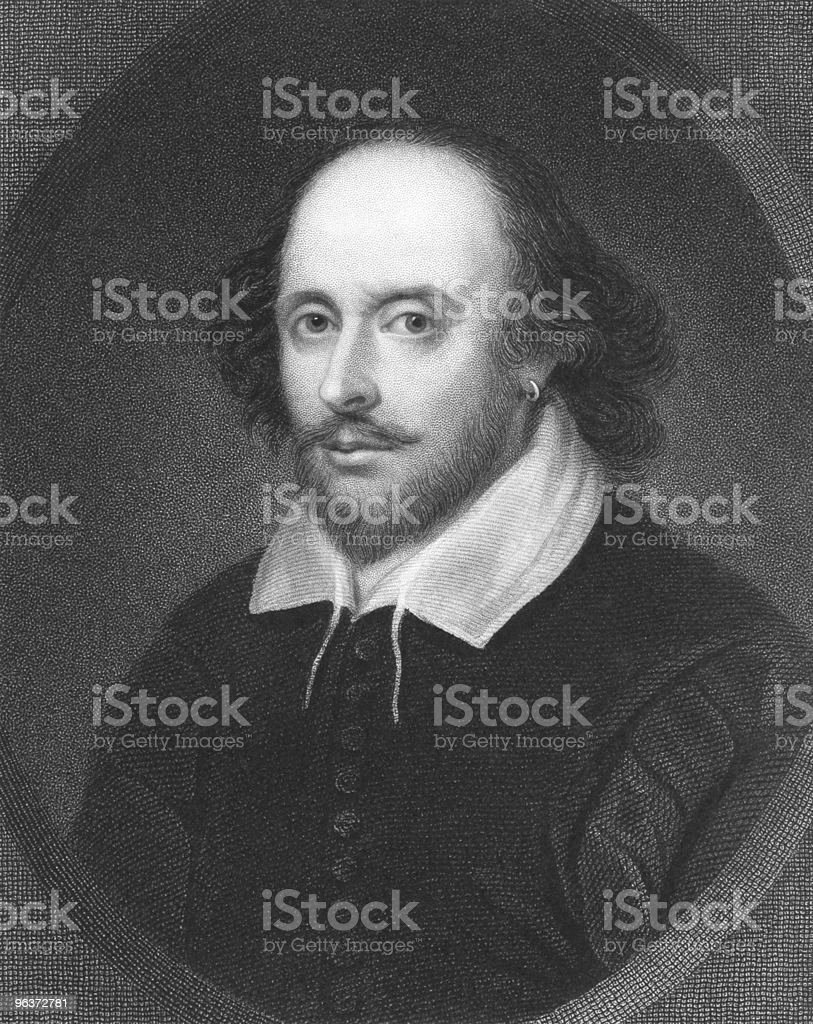 Black and white image of William Shakespeare vector art illustration