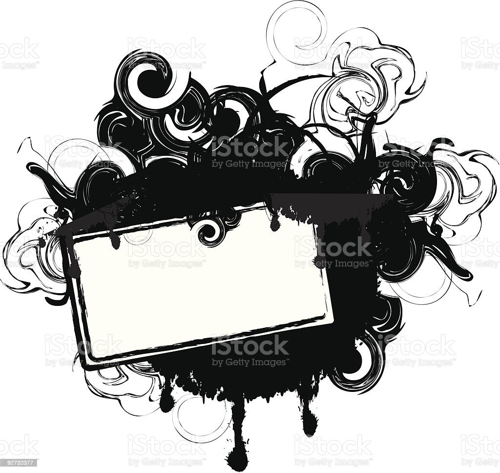 Black and white ink grunge tag royalty-free stock vector art