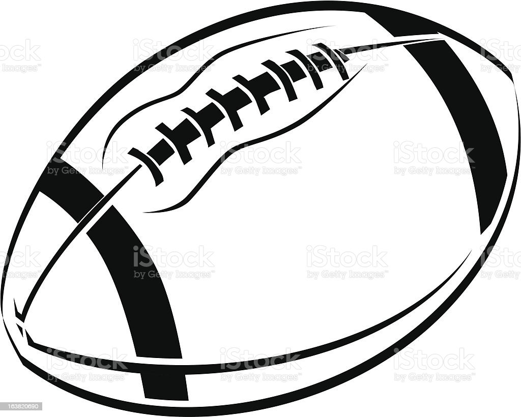 Black and White line art drawing of an American football vector art illustration