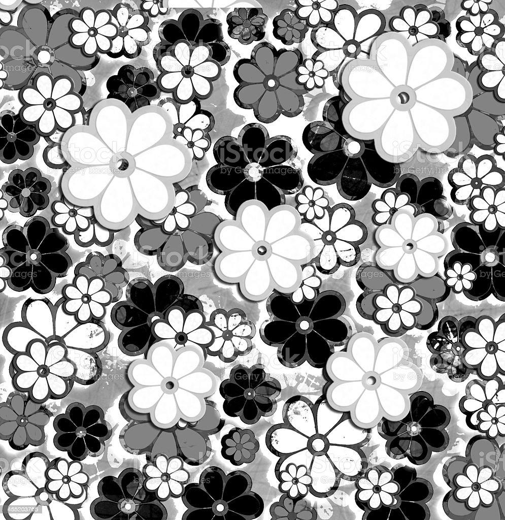 Black and White Overprint Flower Art Pattern vector art illustration