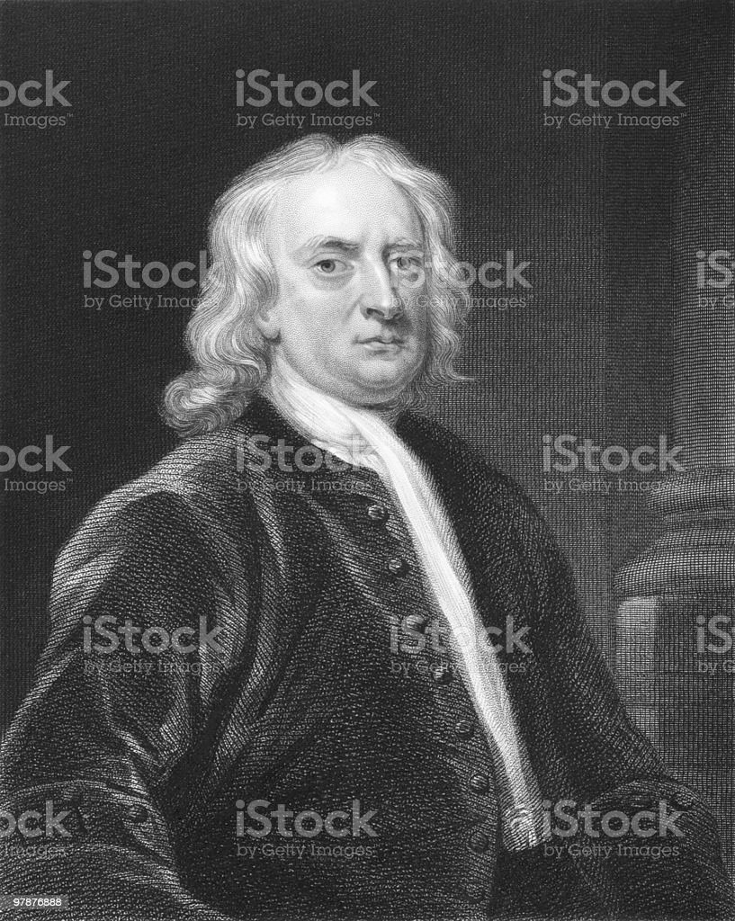 Black and white painting of sir Isaac Newton royalty-free stock vector art