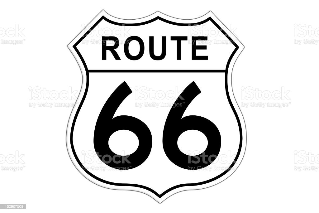 A black and white Route 66 road sign vector art illustration