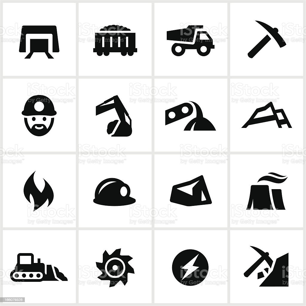 Black and white set of coal mining icons vector art illustration