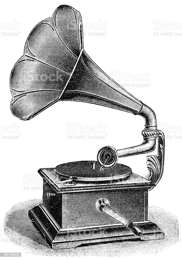Black and white sketch of an old-fashioned gramophone royalty-free stock vector art