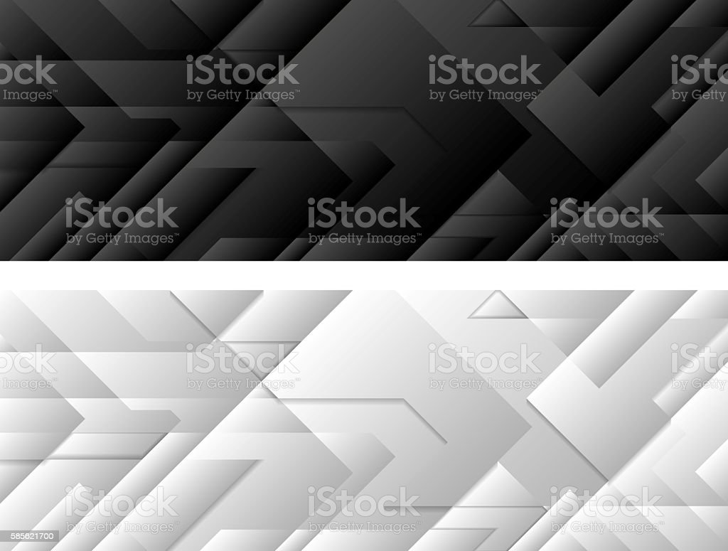 Black and white tech geometric banners vector art illustration