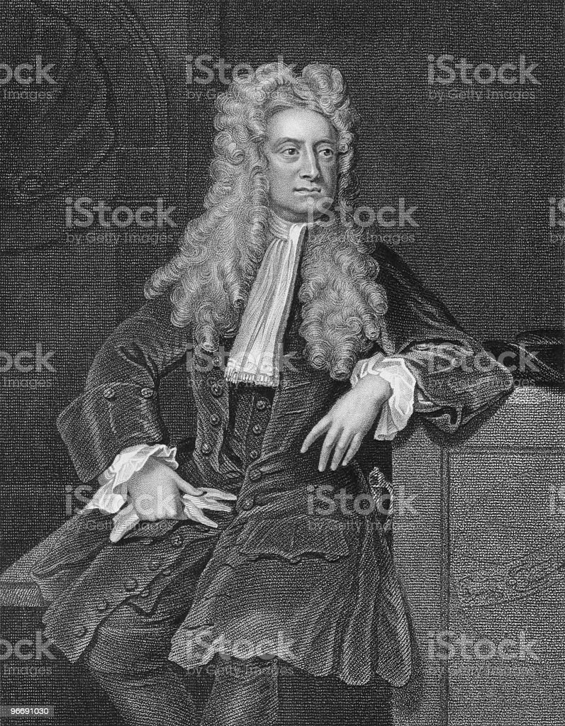Black and white vintage photograph of Isaac Newton royalty-free stock vector art