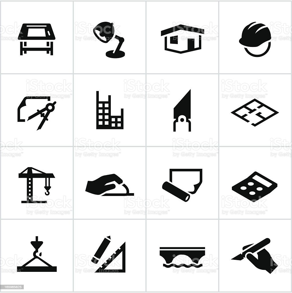 Black Architecture and Design Icons vector art illustration