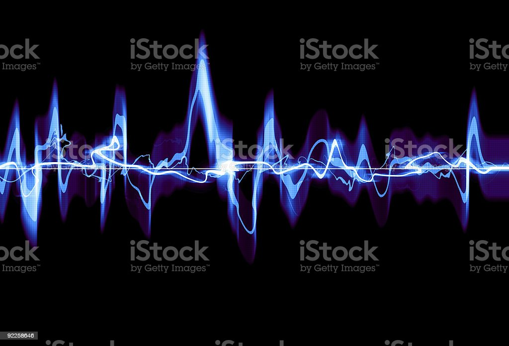 Black background with an electric blue waveform vector art illustration