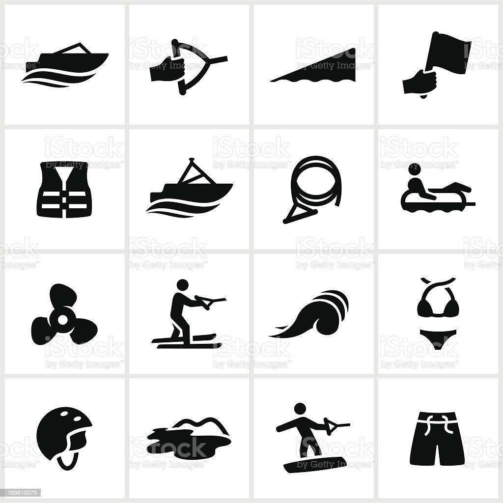 Black Boating Icons vector art illustration
