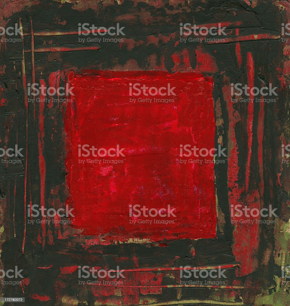 Black border on red background, painted and scanned royalty-free stock vector art