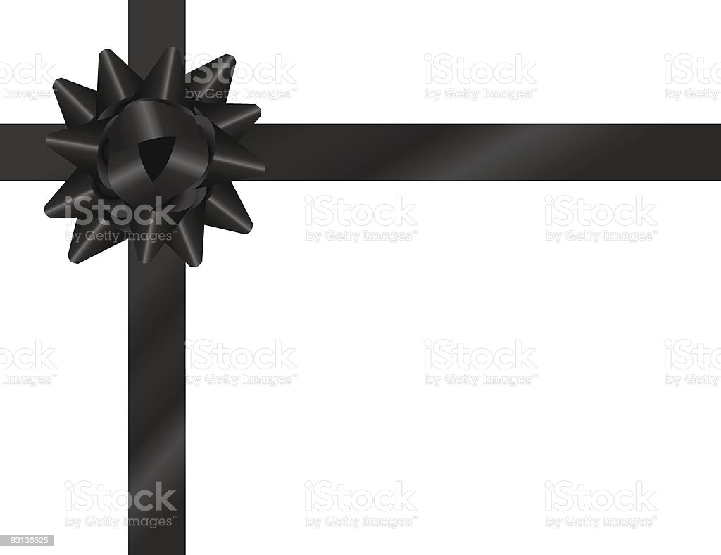 Black Bow with Ribbon vector art illustration