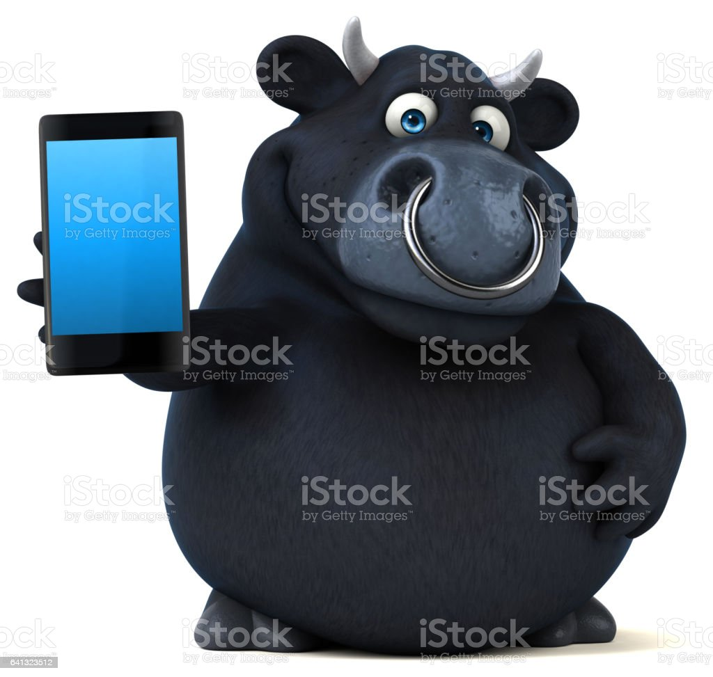 Black bull - 3D Illustration vector art illustration