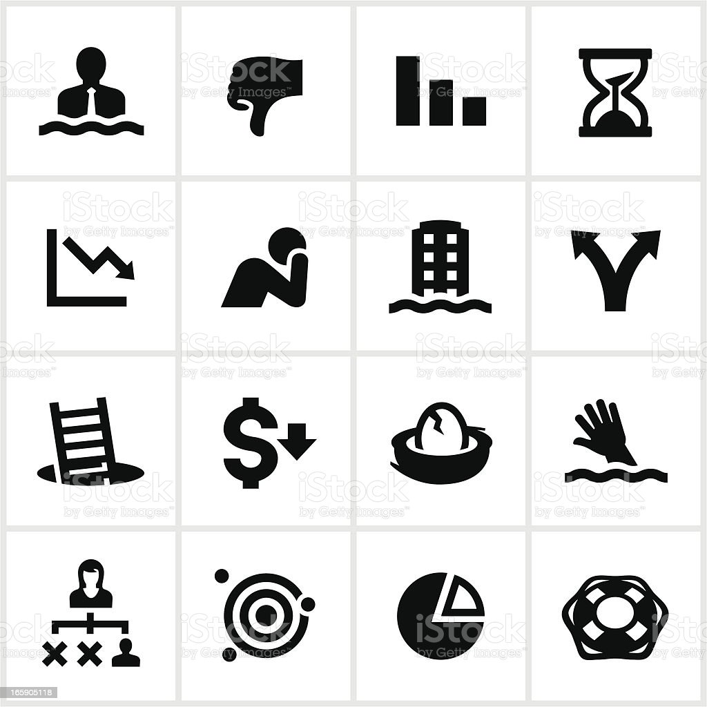 Black Business Failure Icons vector art illustration