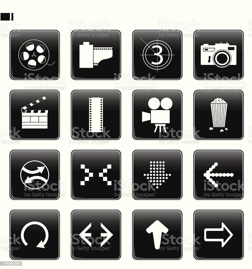 black button set 12 'film & arrows' royalty-free stock vector art