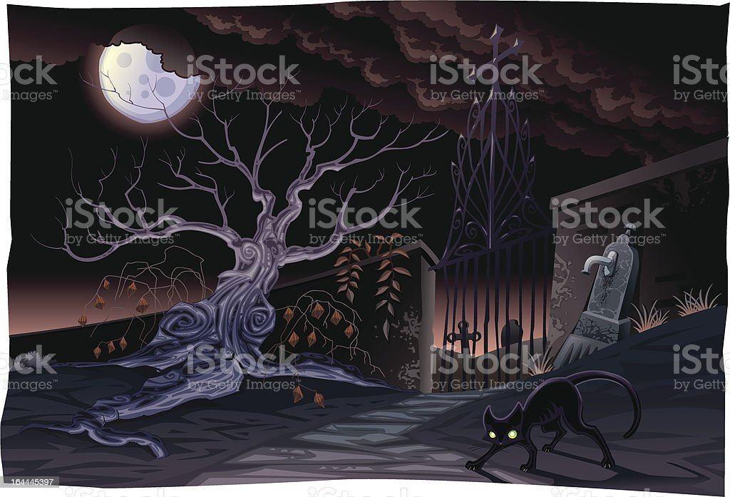 Black cat and cemetery in the night. royalty-free stock vector art