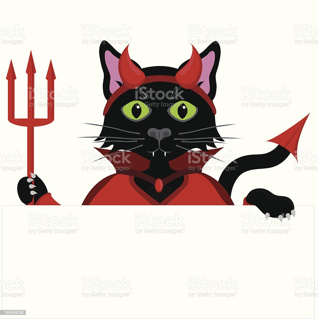 Black cat Devil peeping over the top of blank sign. royalty-free stock vector art