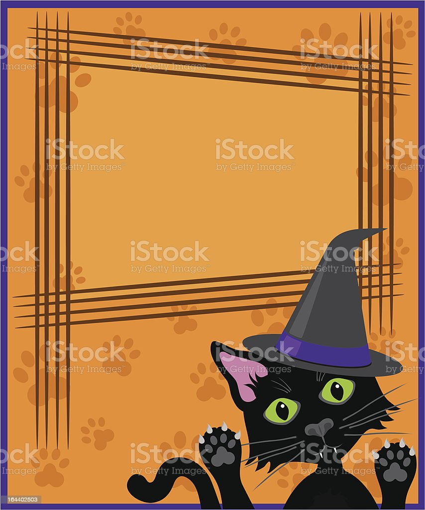 Black cat wearing witches hat clawed sign with copy space. royalty-free stock vector art